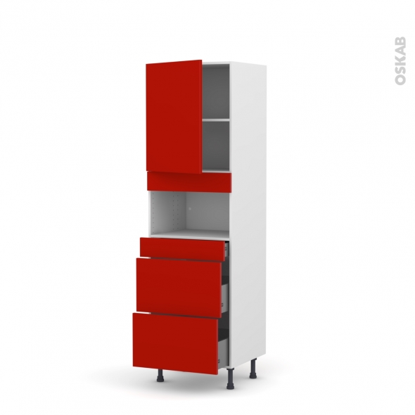 GINKO Rouge - Colonne MO niche 36/38 N°2157  - 1 porte 3 tiroirs - L60xH195xP58