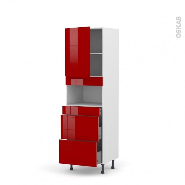 Colonne de cuisine N°2157 - MO encastrable niche 36/38 - STECIA Rouge - 1 porte 3 tiroirs - L60 x H195 x P58 cm