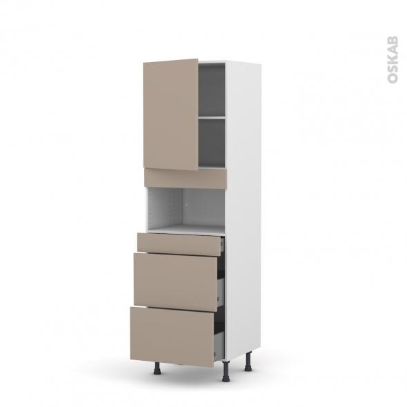Colonne de cuisine N°2157 - MO encastrable niche 36/38 - GINKO Taupe - 1 porte 3 tiroirs - L60 x H195 x P58 cm
