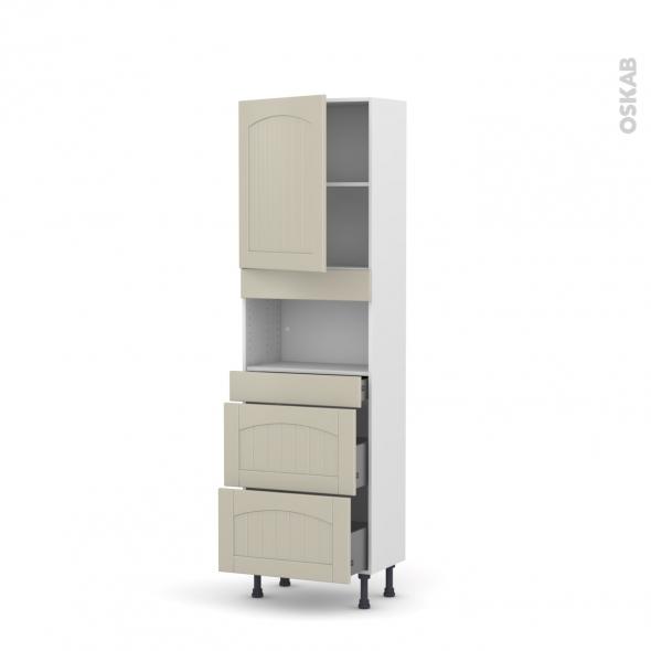 SILEN Argile - Colonne MO niche 36/38 N°2157  - Prof.37  1 porte 2 casseroliers - L60xH195xP37 - gauche