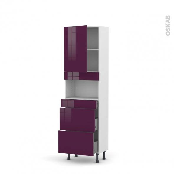 Colonne de cuisine N°2157 - MO encastrable niche 36/38 - KERIA Aubergine - 1 porte 3 tiroirs - L60 x H195 x P37 cm