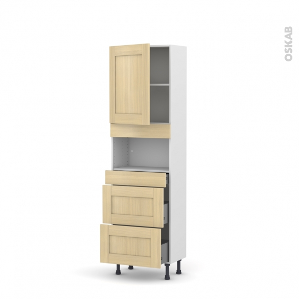 BASILIT Bois Vernis - Colonne MO niche 36/38 N°2157  - Prof.37  1 porte 3 tiroirs - L60xH195xP37