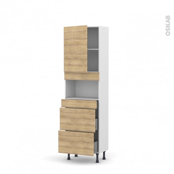 HOSTA Chêne naturel - Colonne MO niche 36/38 N°2157 - Prof.37  1 porte 3 tiroirs - L60xH195xP37