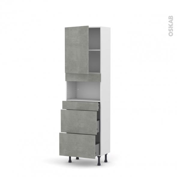 Colonne de cuisine N°2157 - MO encastrable niche 36/38 - FAKTO Béton - 1 porte 3 tiroirs - L60 x H195 x P37 cm