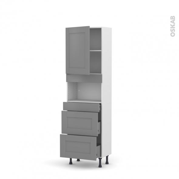 Colonne de cuisine N°2157 - MO encastrable niche 36/38 - FILIPEN Gris - 1 porte 3 tiroirs - L60 x H195 x P37 cm