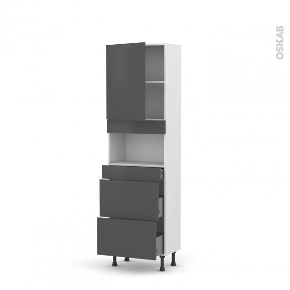 Colonne de cuisine N°2157 - MO encastrable niche 36/38 - GINKO Gris - 1 porte 3 tiroirs - L60 x H195 x P37 cm