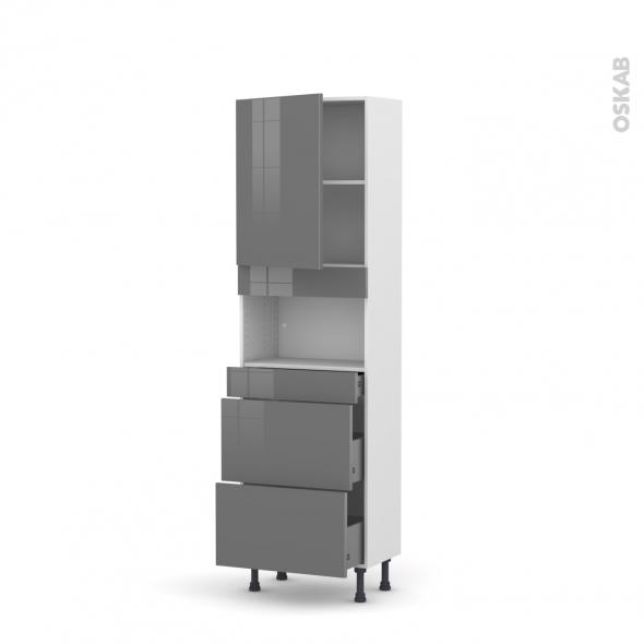 Colonne de cuisine N°2157 - MO encastrable niche 36/38 - STECIA Gris - 1 porte 3 tiroirs - L60 x H195 x P37 cm