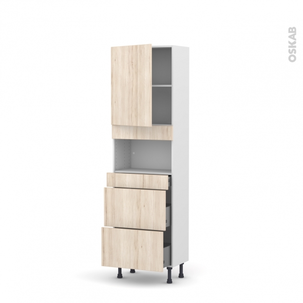 Colonne de cuisine N°2157 - MO encastrable niche 36/38 - IKORO Chêne clair - 1 porte 3 tiroirs - L60 x H195 x P37 cm