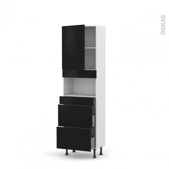 Colonne de cuisine N°2157 - MO encastrable niche 36/38 - GINKO Noir - 1 porte 3 tiroirs - L60 x H195 x P37 cm