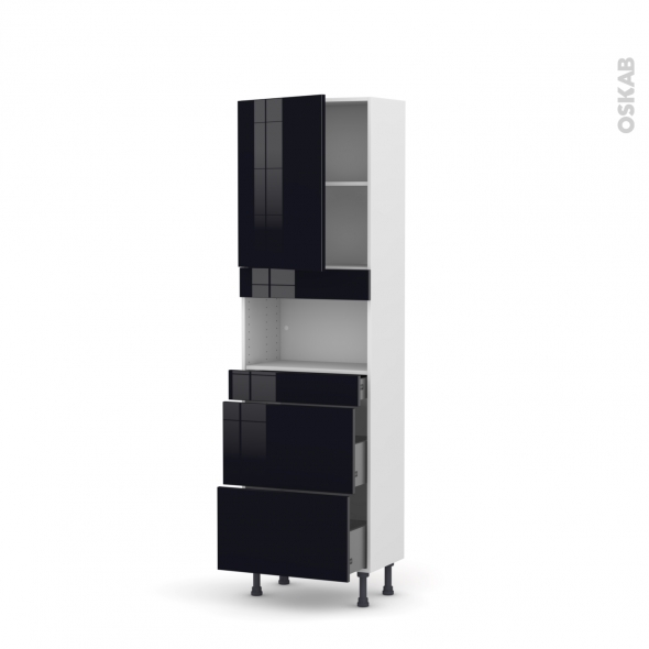 Colonne de cuisine N°2157 - MO encastrable niche 36/38 - KERIA Noir - 1 porte 3 tiroirs - L60 x H195 x P37 cm