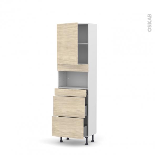 Colonne de cuisine N°2157 - MO encastrable niche 36/38 - STILO Noyer Blanchi - 1 porte 3 tiroirs - L60 x H195 x P37 cm
