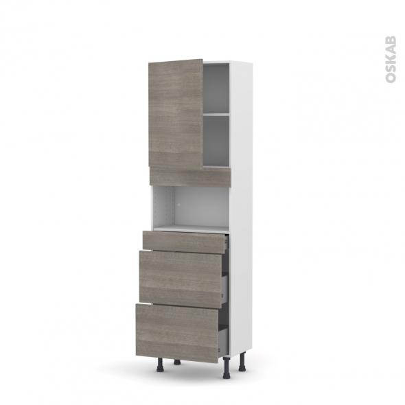 Colonne de cuisine N°2157 - MO encastrable niche 36/38 - STILO Noyer Naturel - 1 porte 3 tiroirs - L60 x H195 x P37 cm