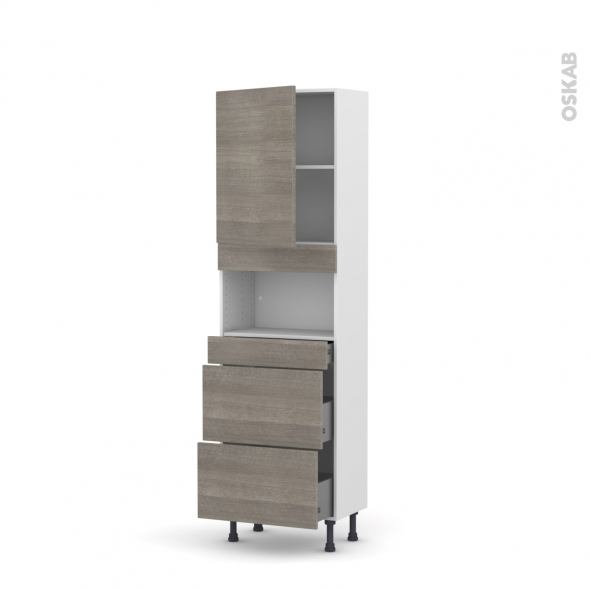 STILO Noyer Naturel - Colonne MO niche 36/38 N°2157  - Prof.37  1 porte 3 tiroirs - L60xH195xP37