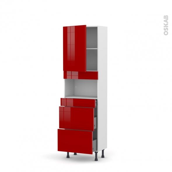 Colonne de cuisine N°2157 - MO encastrable niche 36/38 - STECIA Rouge - 1 porte 3 tiroirs - L60 x H195 x P37 cm