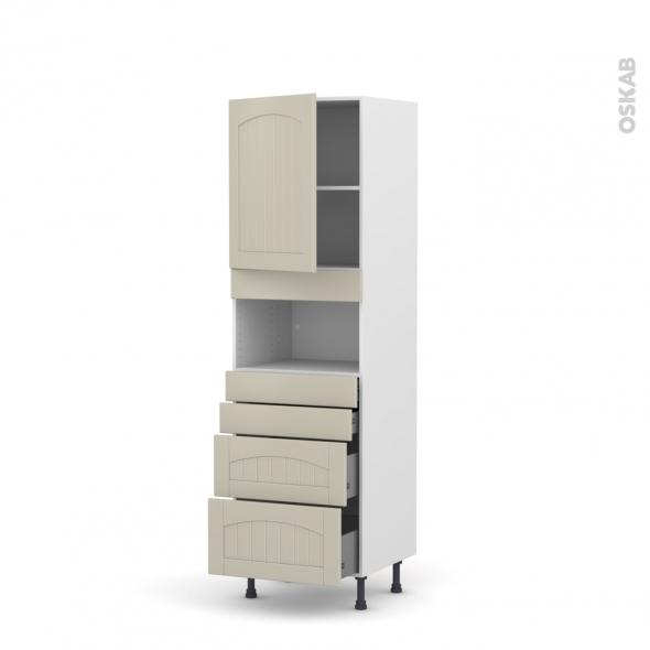 SILEN Argile - Colonne MO niche 36/38 N°2158  - 1 porte 4 tiroirs - L60xH195xP58 - gauche