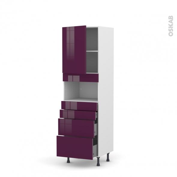 Colonne de cuisine N°2158 - MO encastrable niche 36/38 - KERIA Aubergine - 1 porte 4 tiroirs - L60 x H195 x P58 cm