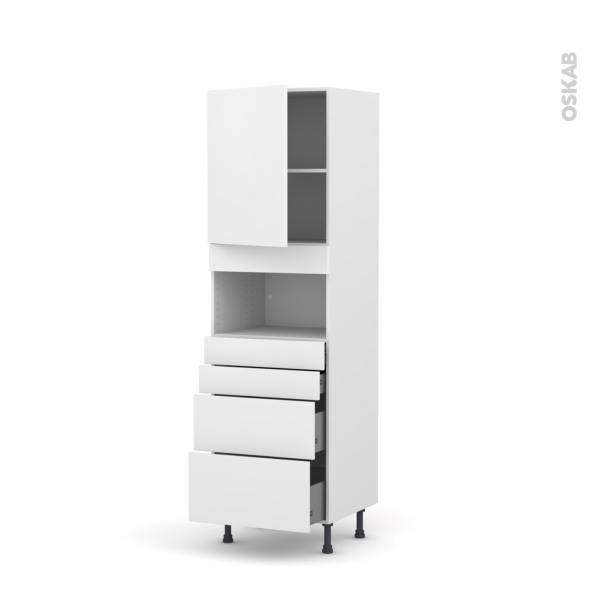 GINKO Blanc - Colonne MO niche 36/38 N°2158  - 1 porte 4 tiroirs - L60xH195xP58