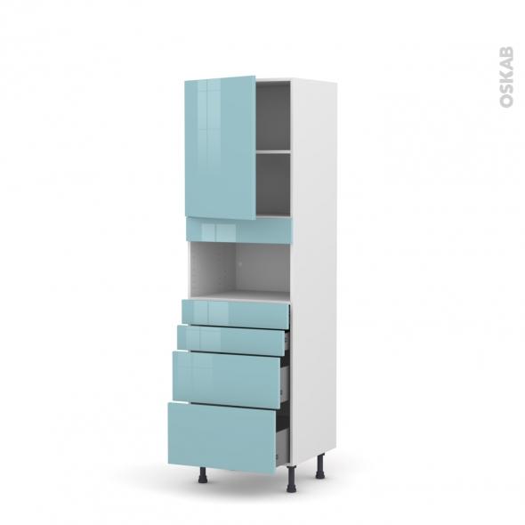 Colonne de cuisine N°2158 - MO encastrable niche 36/38 - KERIA Bleu - 1 porte 4 tiroirs - L60 x H195 x P58 cm