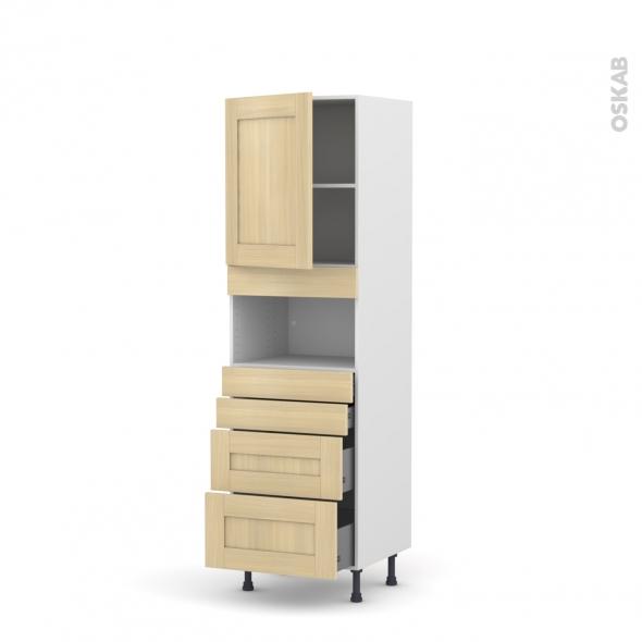 BASILIT Bois Vernis - Colonne MO niche 36/38 N°2158  - 1 porte 4 tiroirs - L60xH195xP58