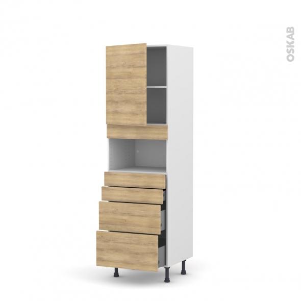 Colonne de cuisine N°2158 - MO encastrable niche 36/38 - HOSTA Chêne naturel - 1 porte 4 tiroirs - L60 x H195 x P58 cm
