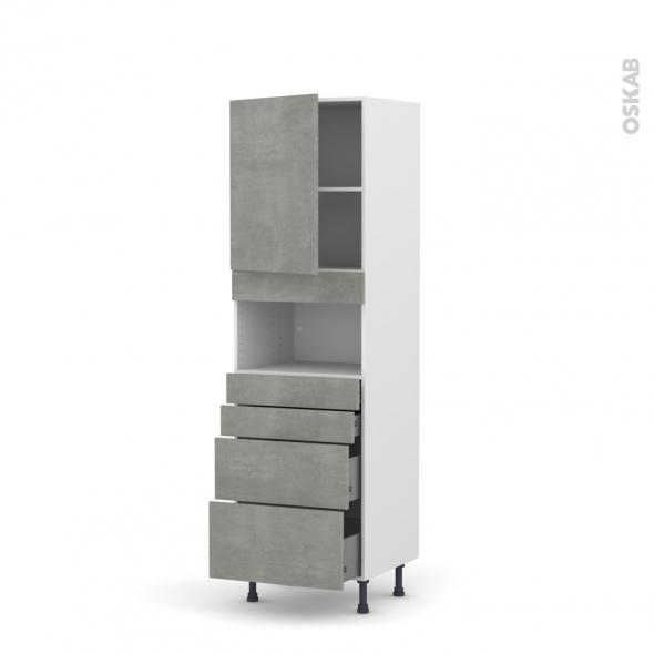 Colonne de cuisine N°2158 - MO encastrable niche 36/38 - FAKTO Béton - 1 porte 4 tiroirs - L60 x H195 x P58 cm