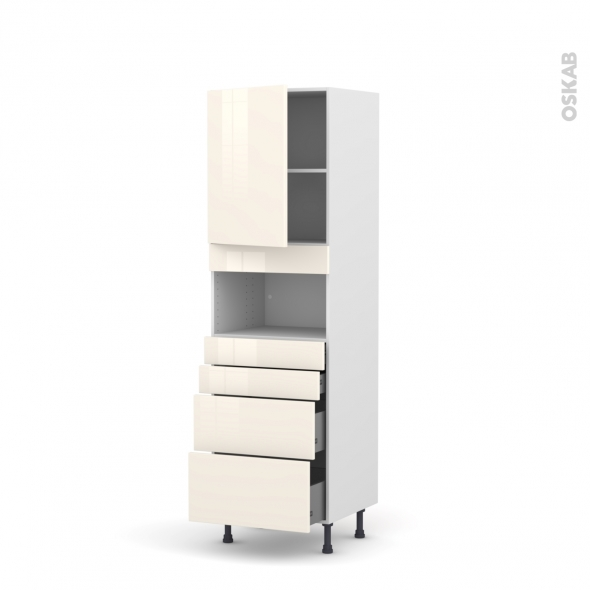 Colonne de cuisine N°2158 - MO encastrable niche 36/38 - KERIA Ivoire - 1 porte 4 tiroirs - L60 x H195 x P58 cm