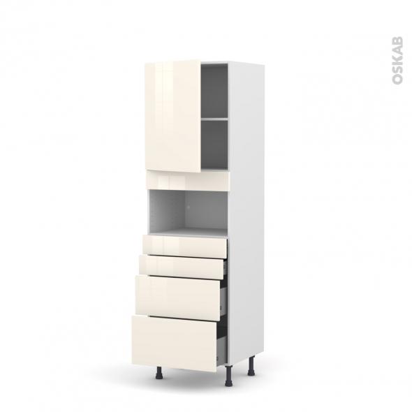 KERIA Ivoire - Colonne MO niche 36/38 N°2158  - 1 porte 4 tiroirs - L60xH195xP58
