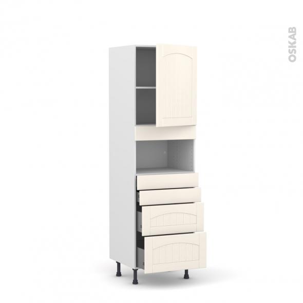 SILEN Ivoire - Colonne MO niche 36/38 N°2158  - 1 porte 4 tiroirs - L60xH195xP58 - droite