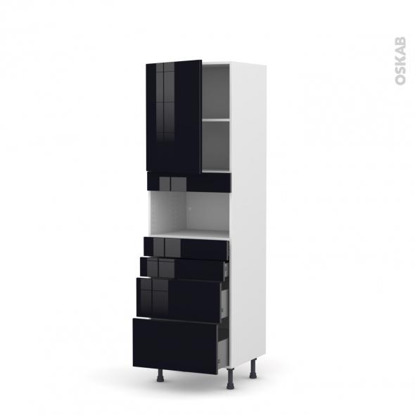 Colonne de cuisine N°2158 - MO encastrable niche 36/38 - KERIA Noir - 1 porte 4 tiroirs - L60 x H195 x P58 cm