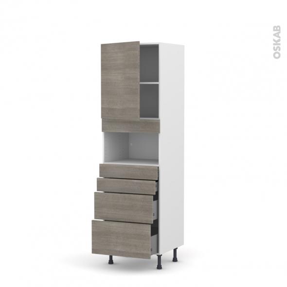 Colonne de cuisine N°2158 - MO encastrable niche 36/38 - STILO Noyer Naturel - 1 porte 4 tiroirs - L60 x H195 x P58 cm