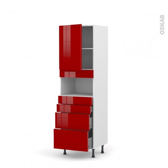 Colonne de cuisine N°2158 - MO encastrable niche 36/38 - STECIA Rouge - 1 porte 4 tiroirs - L60 x H195 x P58 cm