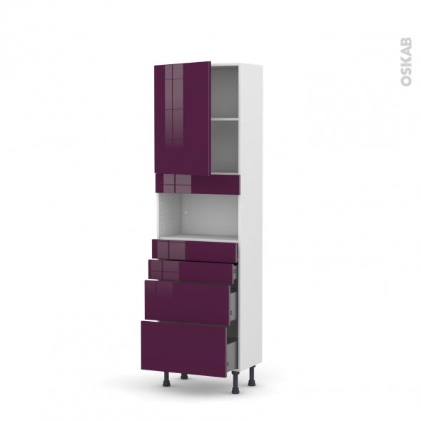 Colonne de cuisine N°2158 - MO encastrable niche 36/38 - KERIA Aubergine - 1 porte 4 tiroirs - L60 x H195 x P37 cm