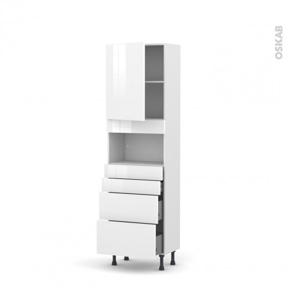 Colonne de cuisine N°2158 - MO encastrable niche 36/38 - STECIA Blanc - 1 porte 4 tiroirs - L60 x H195 x P37 cm