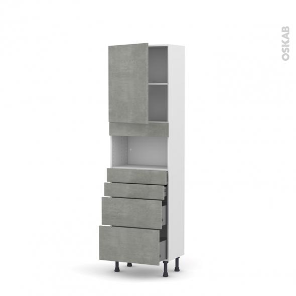 Colonne de cuisine N°2158 - MO encastrable niche 36/38 - FAKTO Béton - 1 porte 4 tiroirs - L60 x H195 x P37 cm