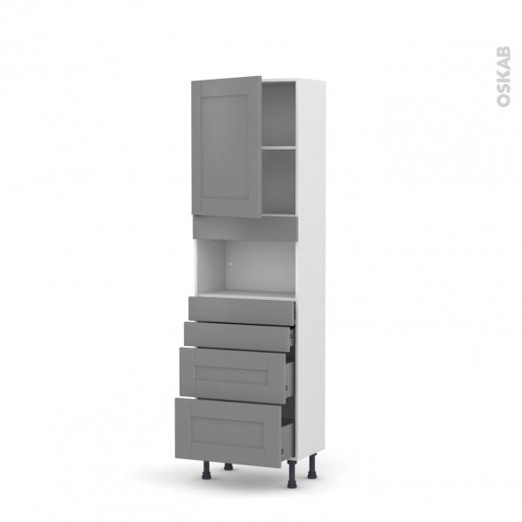 Colonne de cuisine N°2158 - MO encastrable niche 36/38 - FILIPEN Gris - 1 porte 4 tiroirs - L60 x H195 x P37 cm