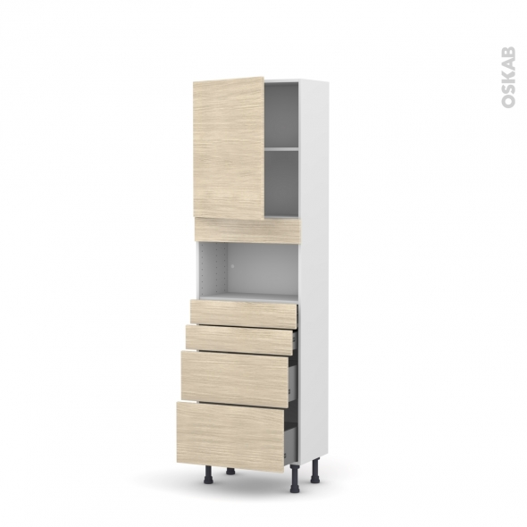 Colonne de cuisine N°2158 - MO encastrable niche 36/38 - STILO Noyer Blanchi - 1 porte 4 tiroirs - L60 x H195 x P37 cm