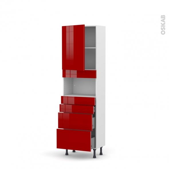 Colonne de cuisine N°2158 - MO encastrable niche 36/38 - STECIA Rouge - 1 porte 4 tiroirs - L60 x H195 x P37 cm