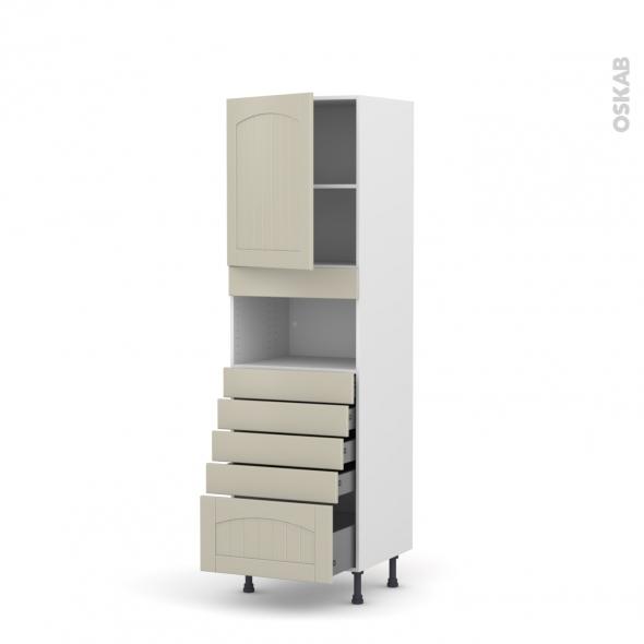 SILEN Argile - Colonne MO niche 36/38 N°2159  - 1 porte 5 tiroirs - L60xH195xP58 - gauche