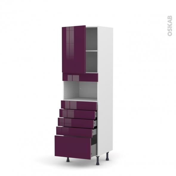 Colonne de cuisine N°2159 - MO encastrable niche 36/38 - KERIA Aubergine - 1 porte 5 tiroirs - L60 x H195 x P58 cm