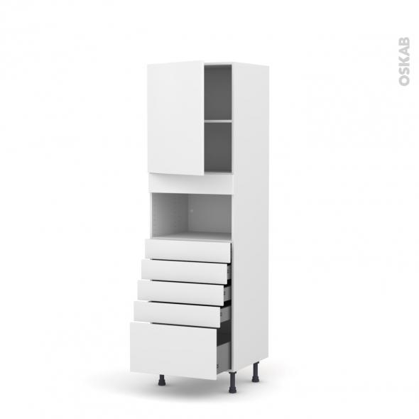Colonne de cuisine N°2159 - MO encastrable niche 36/38 - GINKO Blanc - 1 porte 5 tiroirs - L60 x H195 x P58 cm