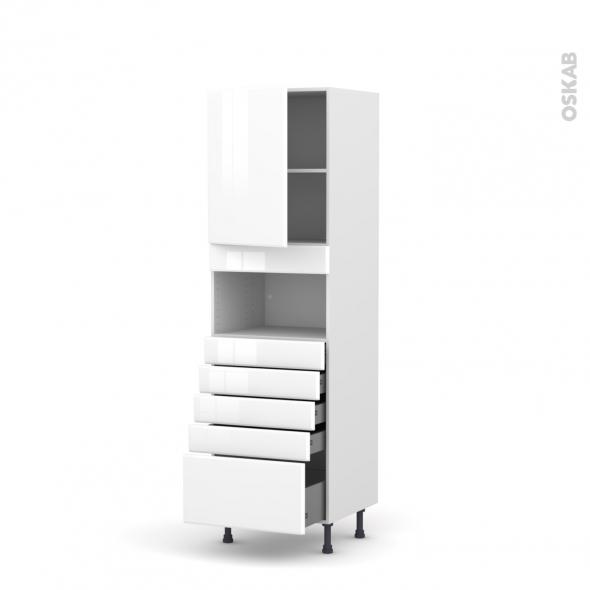 Colonne de cuisine N°2159 - MO encastrable niche 36/38 - IRIS Blanc - 1 porte 5 tiroirs - L60 x H195 x P58 cm