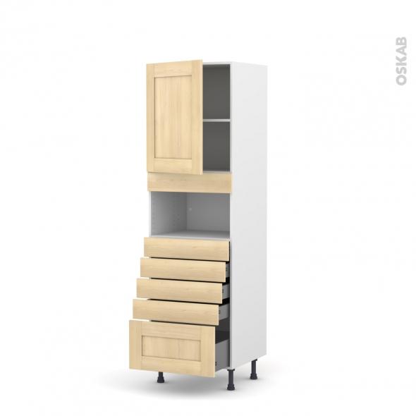 BETULA Bouleau - Colonne MO niche 36/38 N°2159  - 1 porte 5 tiroirs - L60xH195xP58