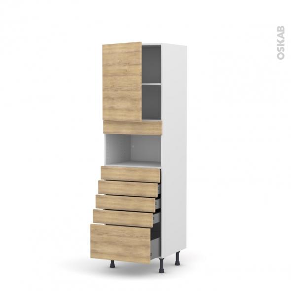 Colonne de cuisine N°2159 - MO encastrable niche 36/38 - HOSTA Chêne naturel - 1 porte 5 tiroirs - L60 x H195 x P58 cm