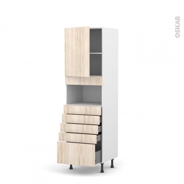 Colonne de cuisine N°2159 - MO encastrable niche 36/38 - IKORO Chêne clair - 1 porte 5 tiroirs - L60 x H195 x P58 cm