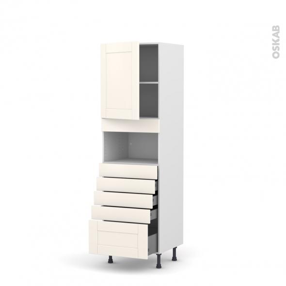 Colonne de cuisine N°2159 - MO encastrable niche 36/38 - FILIPEN Ivoire - 1 porte 5 tiroirs - L60 x H195 x P58 cm