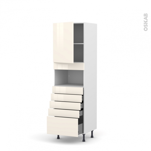 Colonne de cuisine N°2159 - MO encastrable niche 36/38 - KERIA Ivoire - 1 porte 5 tiroirs - L60 x H195 x P58 cm