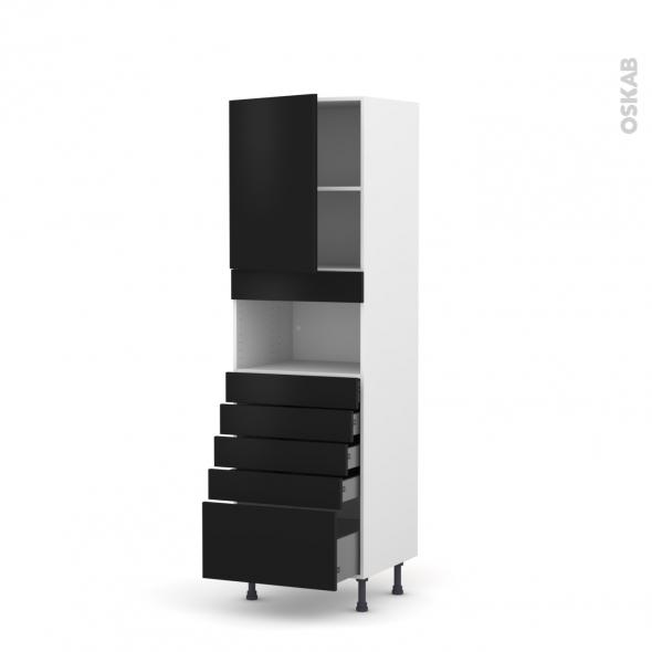 Colonne de cuisine N°2159 - MO encastrable niche 36/38 - GINKO Noir - 1 porte 5 tiroirs - L60 x H195 x P58 cm
