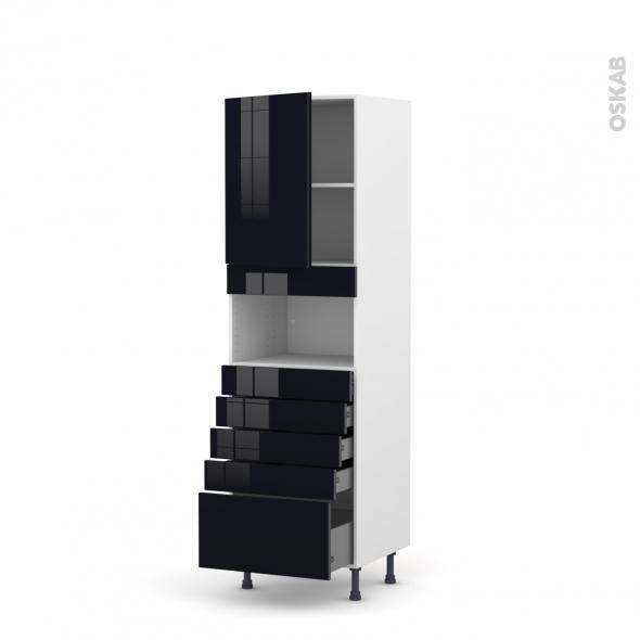 Colonne de cuisine N°2159 - MO encastrable niche 36/38 - KERIA Noir - 1 porte 5 tiroirs - L60 x H195 x P58 cm