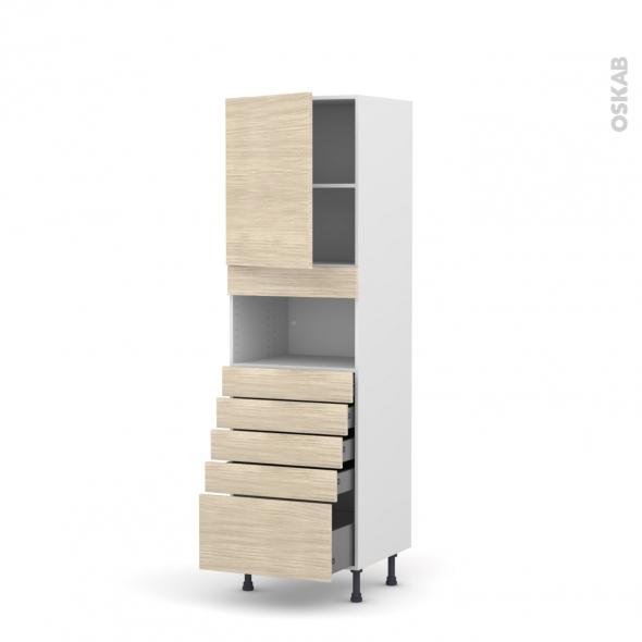 Colonne de cuisine N°2159 - MO encastrable niche 36/38 - STILO Noyer Blanchi - 1 porte 5 tiroirs - L60 x H195 x P58 cm