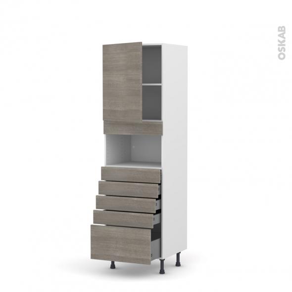Colonne de cuisine N°2159 - MO encastrable niche 36/38 - STILO Noyer Naturel - 1 porte 5 tiroirs - L60 x H195 x P58 cm
